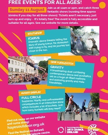 Here's our shiny new flyer showing the line up for Sunday 11 August. Enjoy! #hayes #hillingdon #outdoorartsuk #circulateldn #free #community #golocal