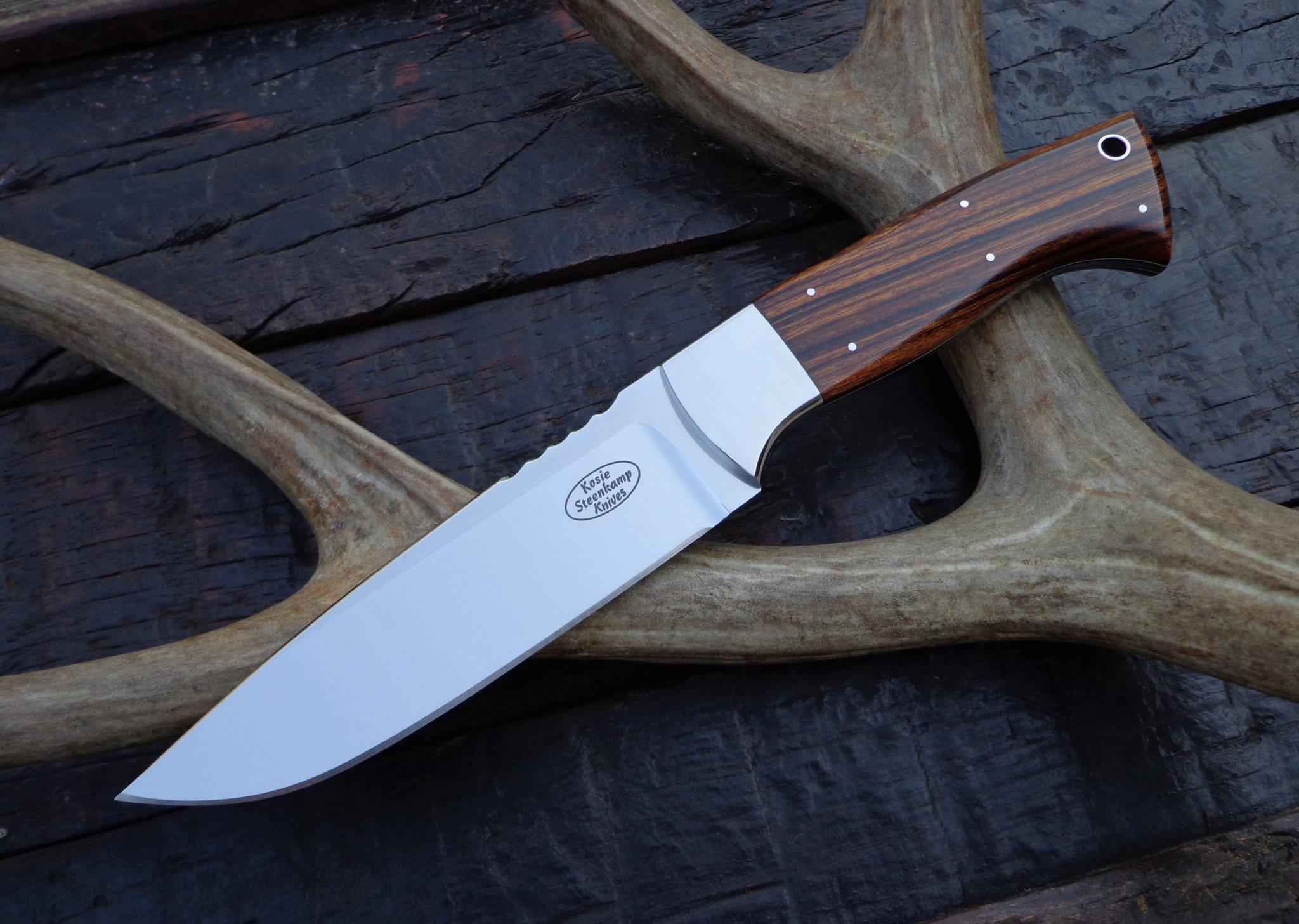 Big Hunter, Bohler N690 blade, 304 S/S bolster and Arizona Desert Ironwood handle.