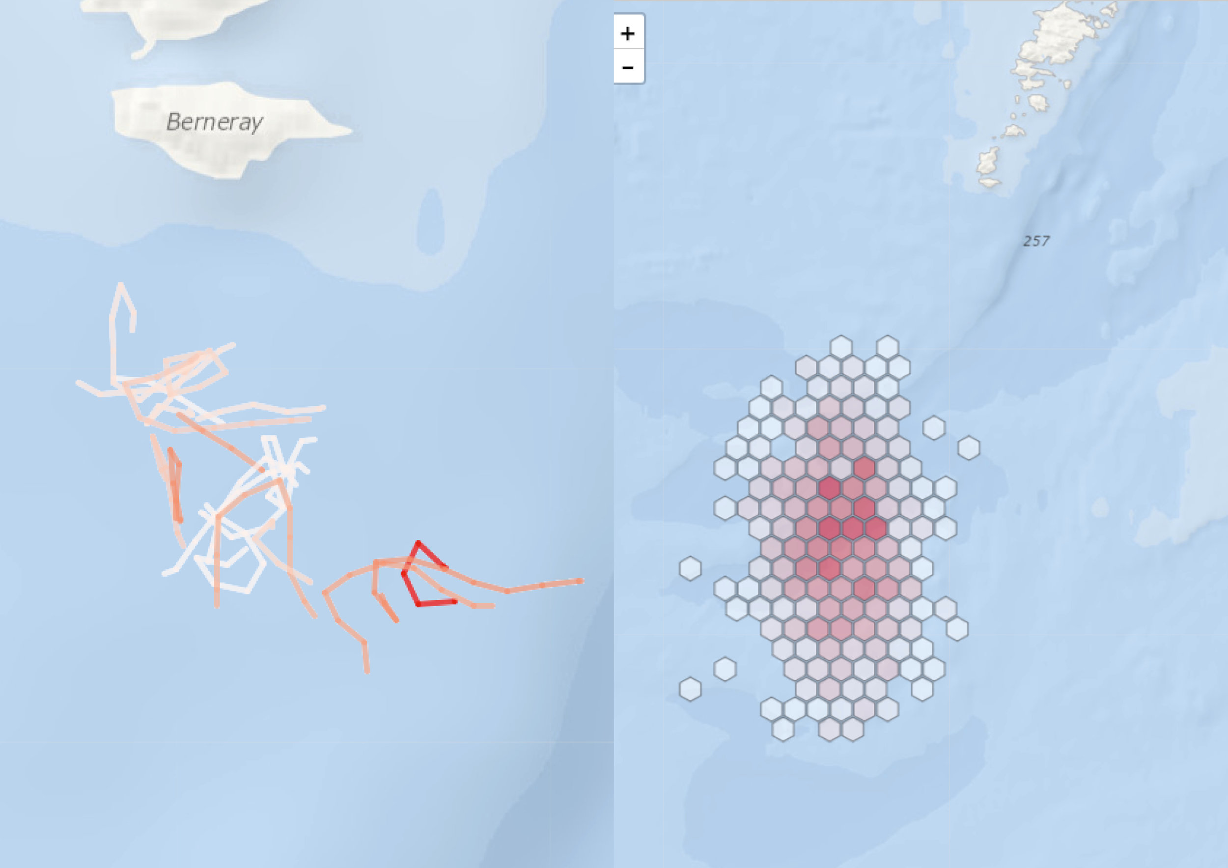 Figure 2: Examples of the potential data products that could be generated from cod/whiting catch information and reported back to fishermen. Left: tow tracks with high catch concentrations outlined; Right: heat map of catch concentrations.