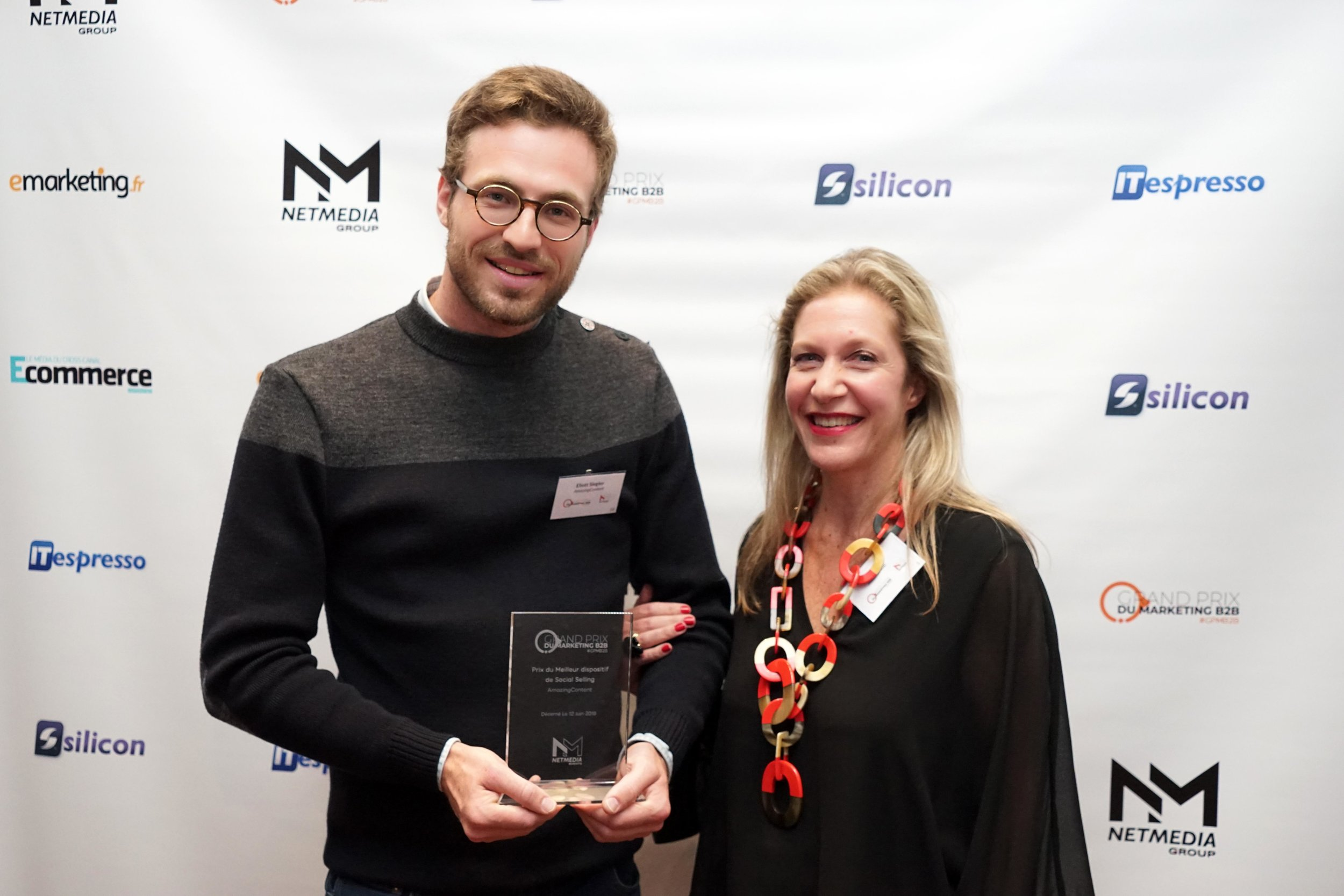 Cécile Tuil (VP Communications chez Albéa Group) et Eliott Siegler (CEO AmazingContent) suite à la remise du Prix