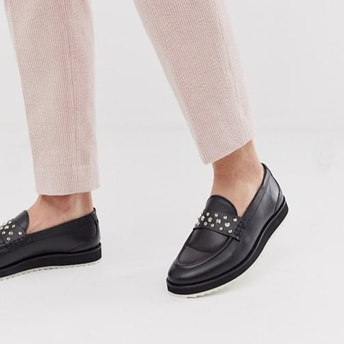 Studding ✔ Wedge ✔ Shark sole ✔ . Give you average penny loafer that edge you need.  Bowie studded loafer is here! Available on Topman and Asos. . #studdedloafer #pennyloafer #houseofhoundsshoes