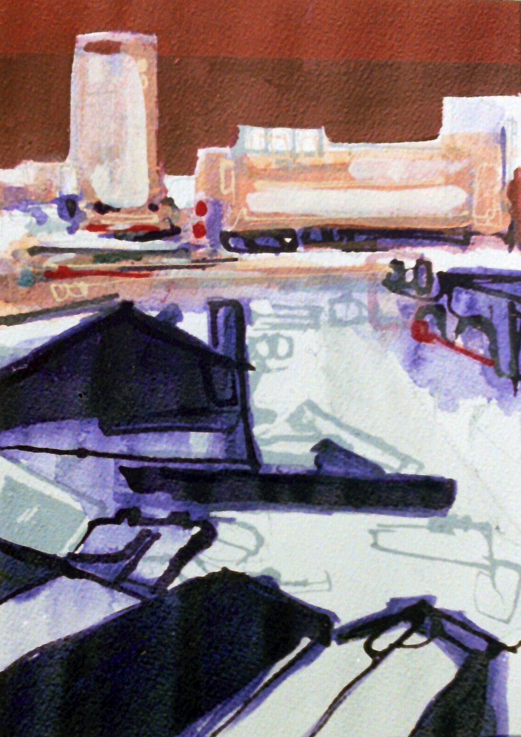 acrylic on paper, 30 x 50cm, 2001 sold