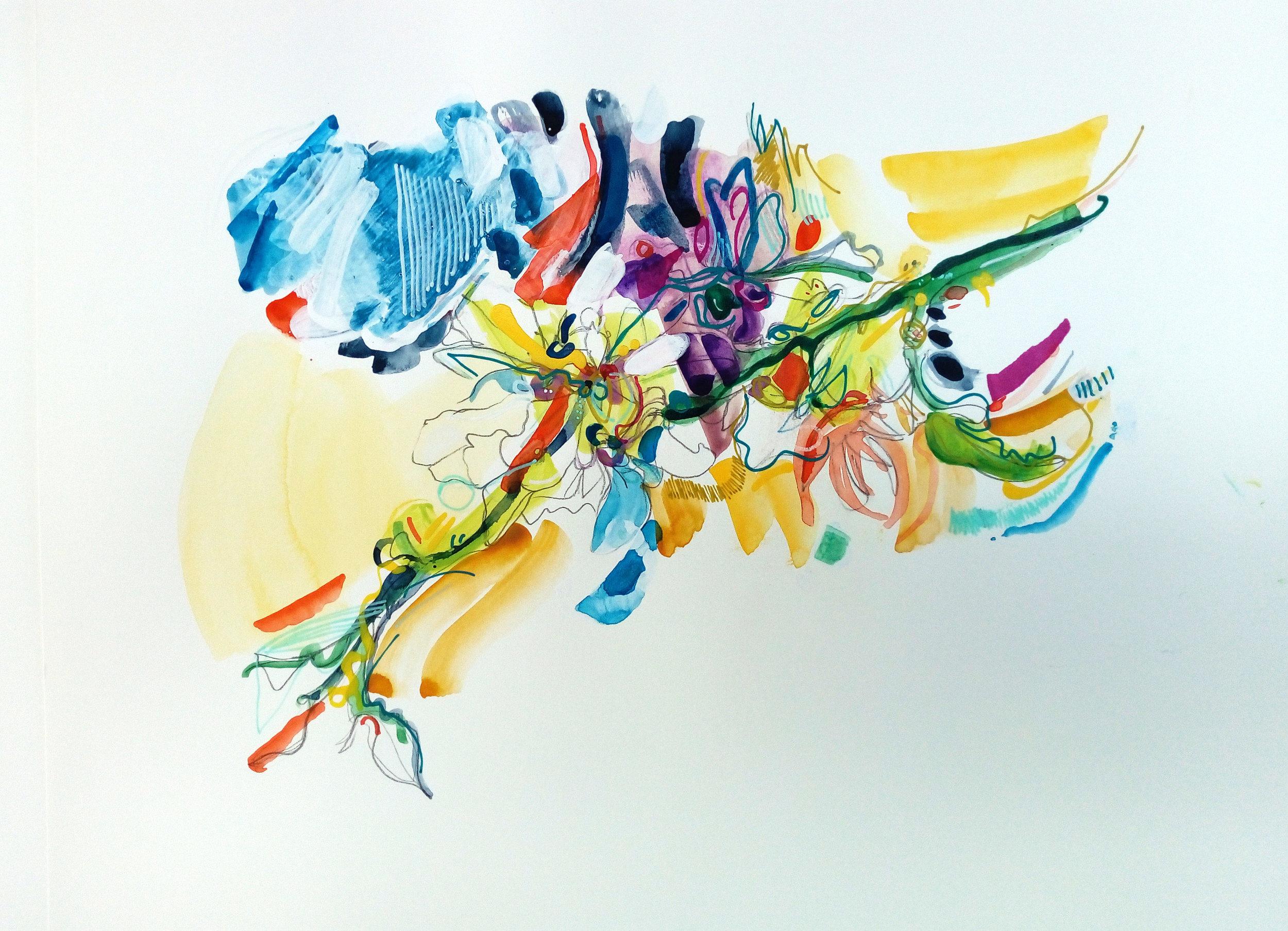 almond blossom marks, watercolour & pen on paper, 34x37cm, april 2019 £220