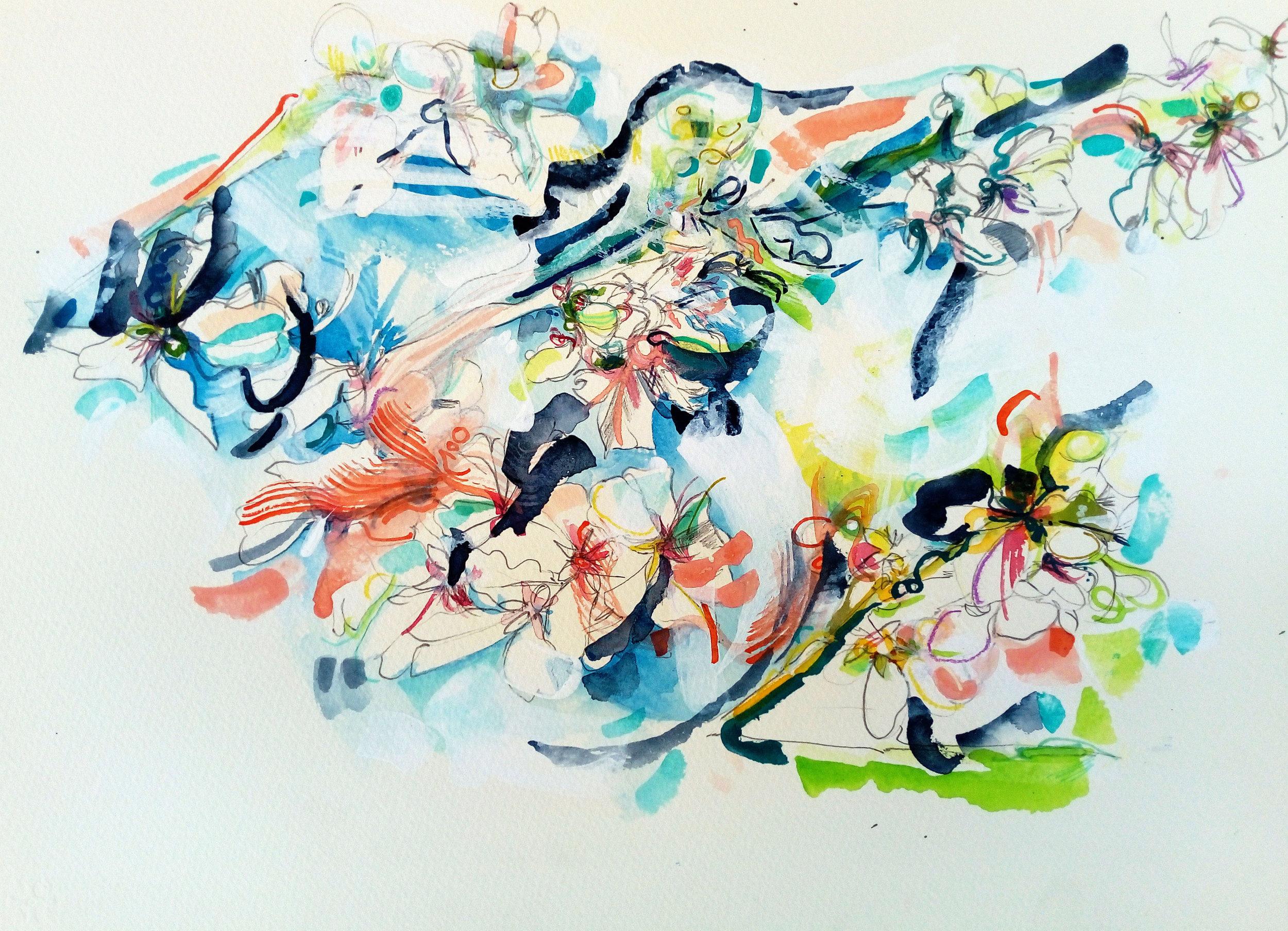 almond blossom, watercolour & pen on saunders 300gm 100% cotton rag not surface watercolour paper, 38x28cm, march 2019 £220