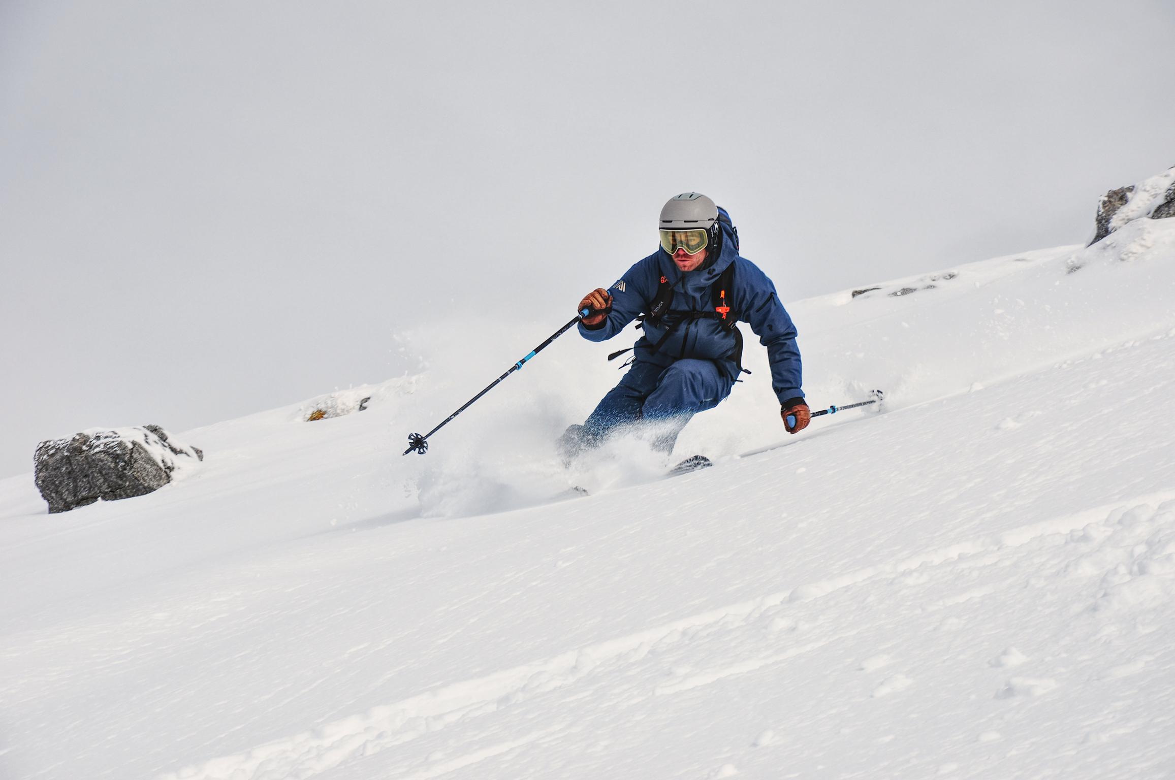 Marc skiing off piste