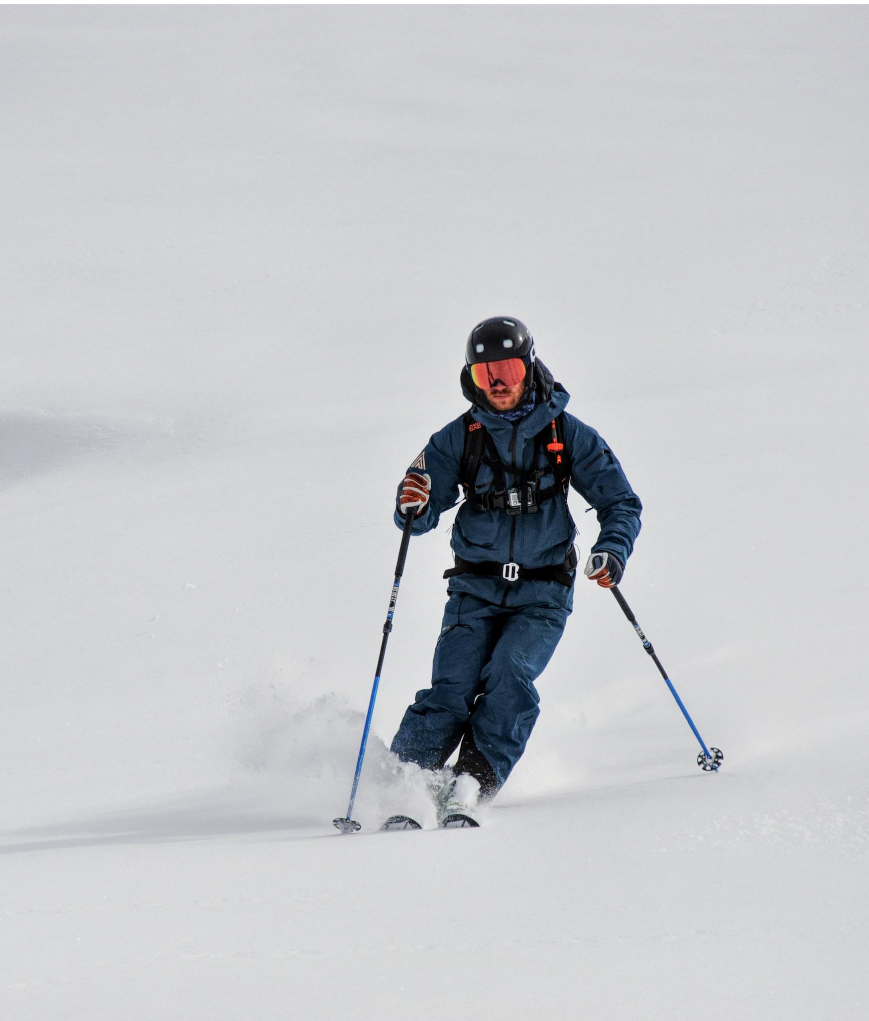 David skiing off piste