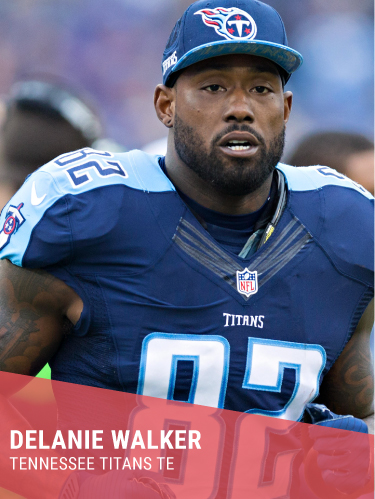 DELANIE WALKER   Hometown: Pomona, CA  College: Central Missouri  3x Pro Bowl & Pro Bowl MVP  Instagram:  @delaniewalker82   Twitter:  @delaniewalker82   Facebook:  @OfficialDelanieWalker