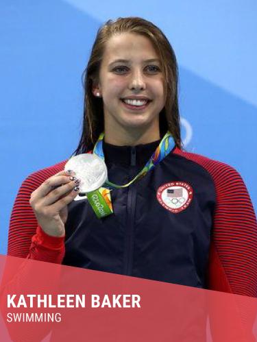 KATHLEEN BAKER  Hometown: Winston-Salem, NC  College: University of California, Berkeley  World Record Holder - 100m Backstroke  Instagram:  @kathleenbaker2   Twitter:  @KathleenBaker2   Facebook:  @kathleen.baker.52
