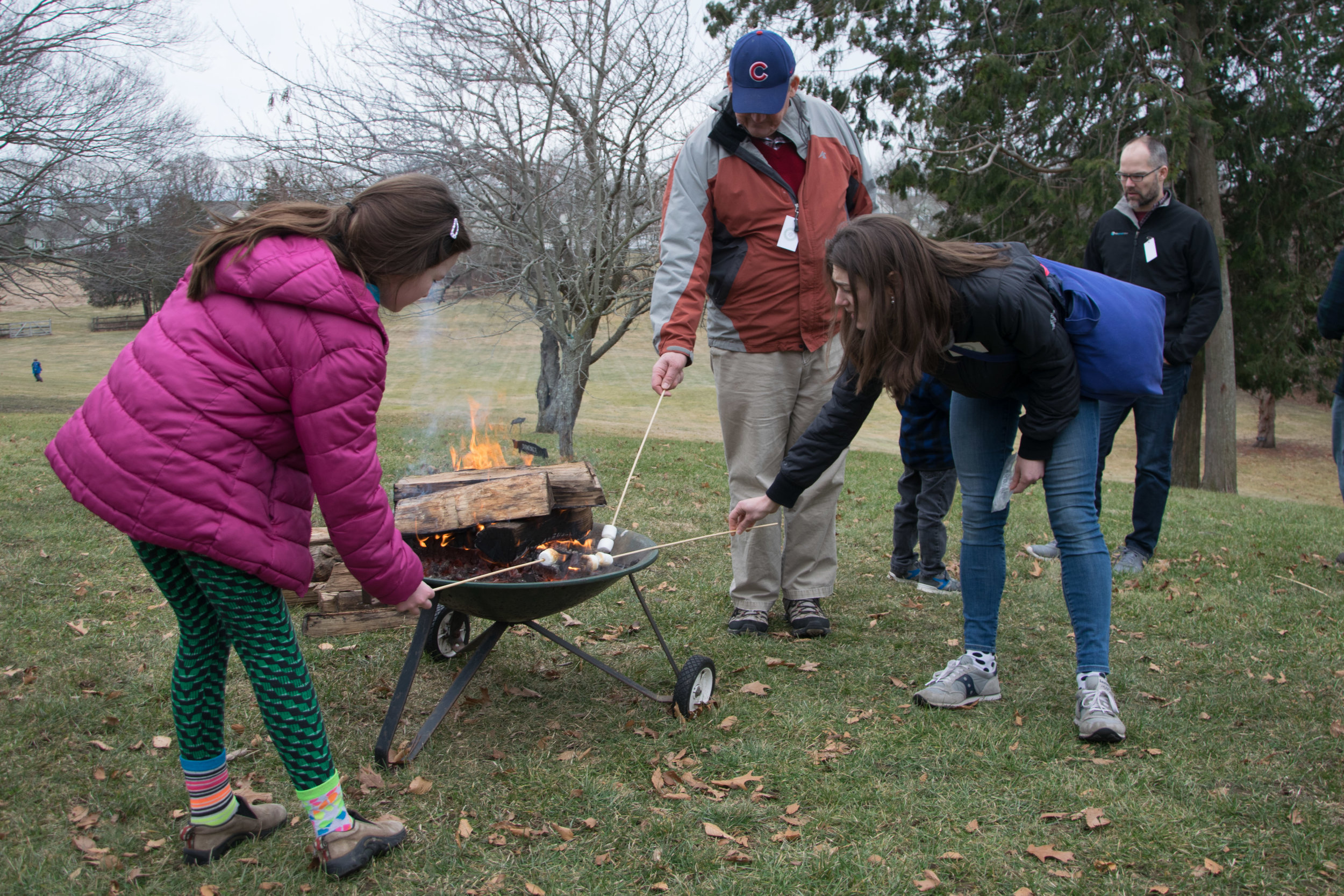 Although snow was sparse, the year's first annual  Snow Day  at the Homestead featured marshmallow-roasting, whoopie pies, and hiking along the property's various trails along the river. More than 100 people availed themselves of the opportunity to explore grounds' winter habitats.