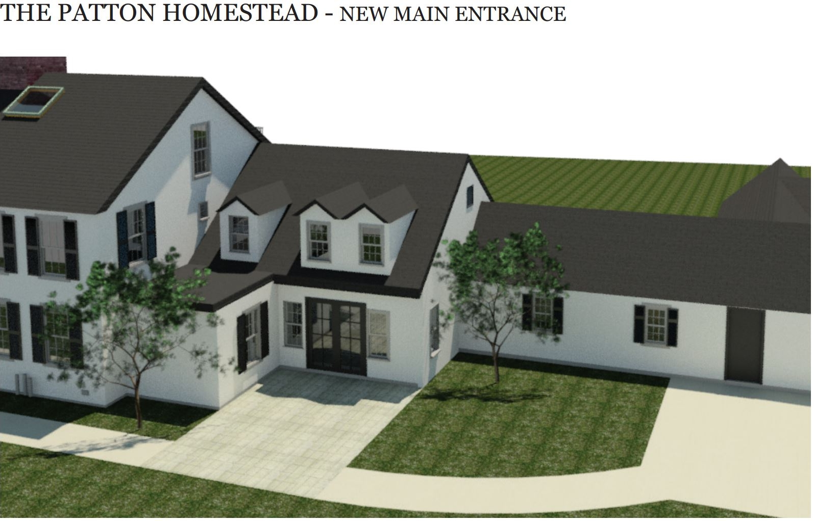 Rendering by Spencer, Sullivan & Vogt of new main entrance