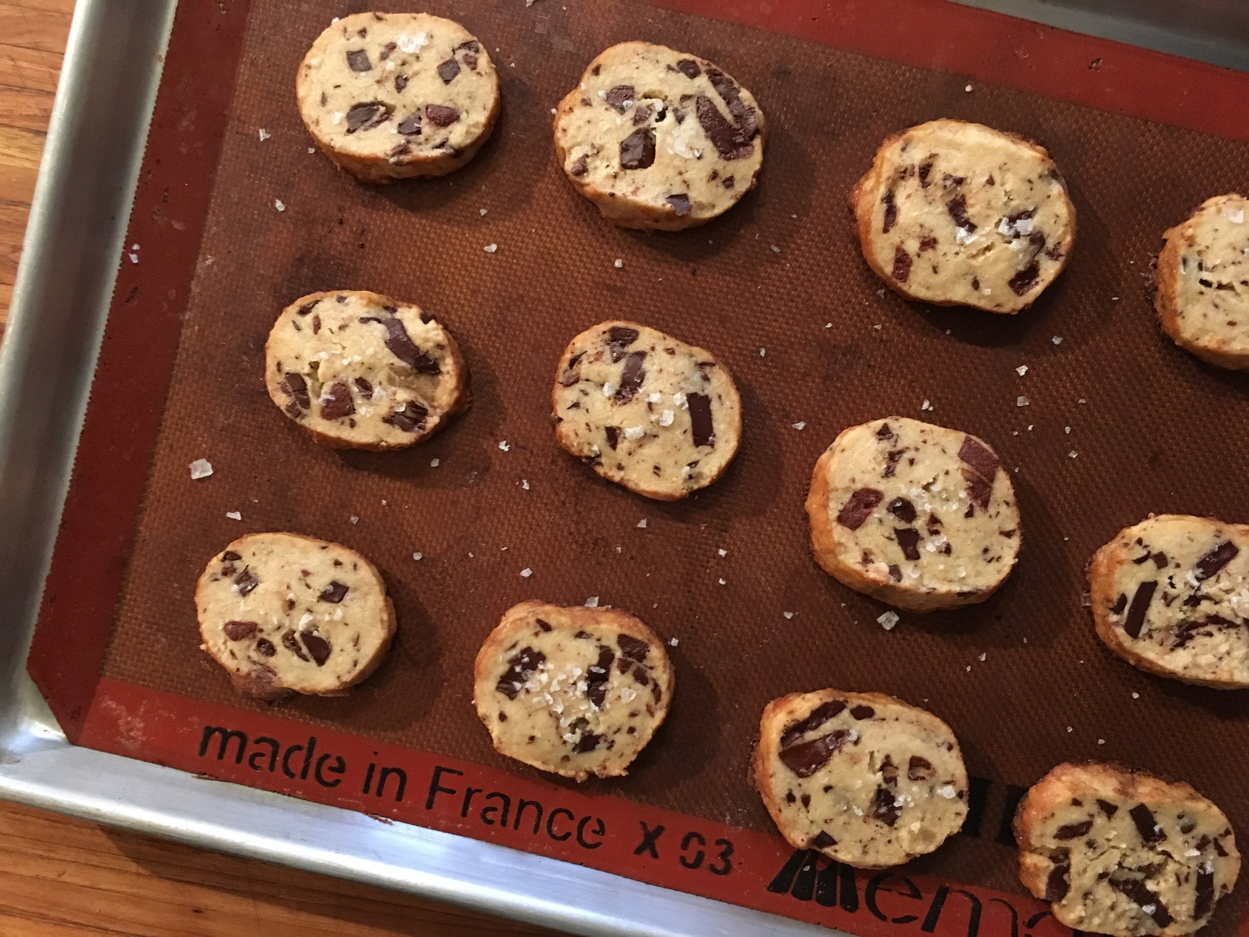 I DID IT. I MADE THE COOKIES.    Salted chocolate chunk shortbread cookies  a la Alison Roman's  Dining In