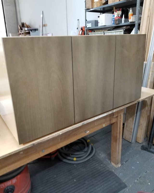 Cabinets getting ready for install. #rkcw robertkalka #cabinetmakernyc #woodworkingbrooklyn #brooklynnavyyard #murphybed #storage #ashveneer #customwoodworking