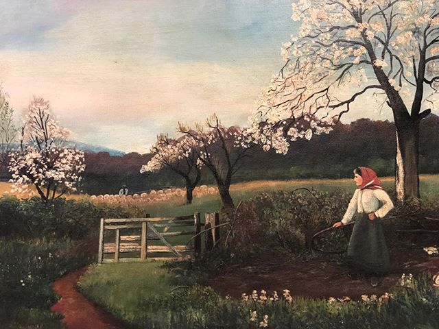 Daydreaming of warmer days to come 🌈🦋🌷 . Today's #findoftheday is a beautiful oil painting by J.A. Mingham C. 1920 . . . #thinkspring #art #antiqueshop #antiquing #freeportmaine #instaantiques #accent #interiordesign #1920s #vintage #antiquesforsale #oneofakind #details #showroom #shoplocal #maine #newengland #spring  #cabinfever #forsale #timeless #springisintheair #blossom #goodolddays #homedecor #uniquefinds . @visitfreeport @visitmaine @visitportland @maineantiquedigest