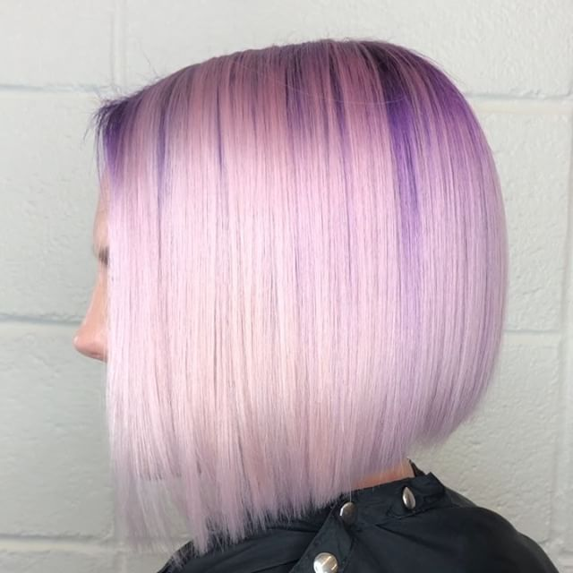I love a good ole inverted bob.. but even better an Asymmetrical inverted bob with purple roots!!! 💜 ....••••.... .....•••••..... #hair #hairart #hairartandcompany #hairartist #beautyshop #salon #shadowroot #blonde #blondehair  #bob  #haircolor #platinumblonde #asymmetricalbob #purplehair #trendyhair  #colorspecialist  #customhaircolor #colorist  #hairporn #hairenvy  #hairstylist #ladybarber  #beautysalon #batonrouge #hairdresser  #batonrougehair  #batonrougehairstylist  #prettyhair #iammidcity #Batonrouge