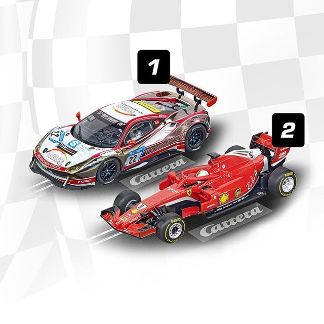 GT vs. F1 – What do you prefer? Let us know in the comments!  #racing #GT #F1 #racingcars #slotracing #motorsports #carreramoments #ferrari #race #carlover #carreratoys #carrera #slotcars