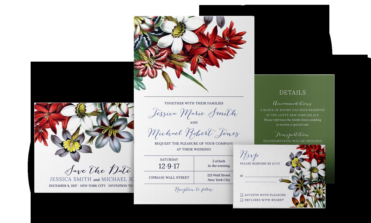 Spring floral invitation suite