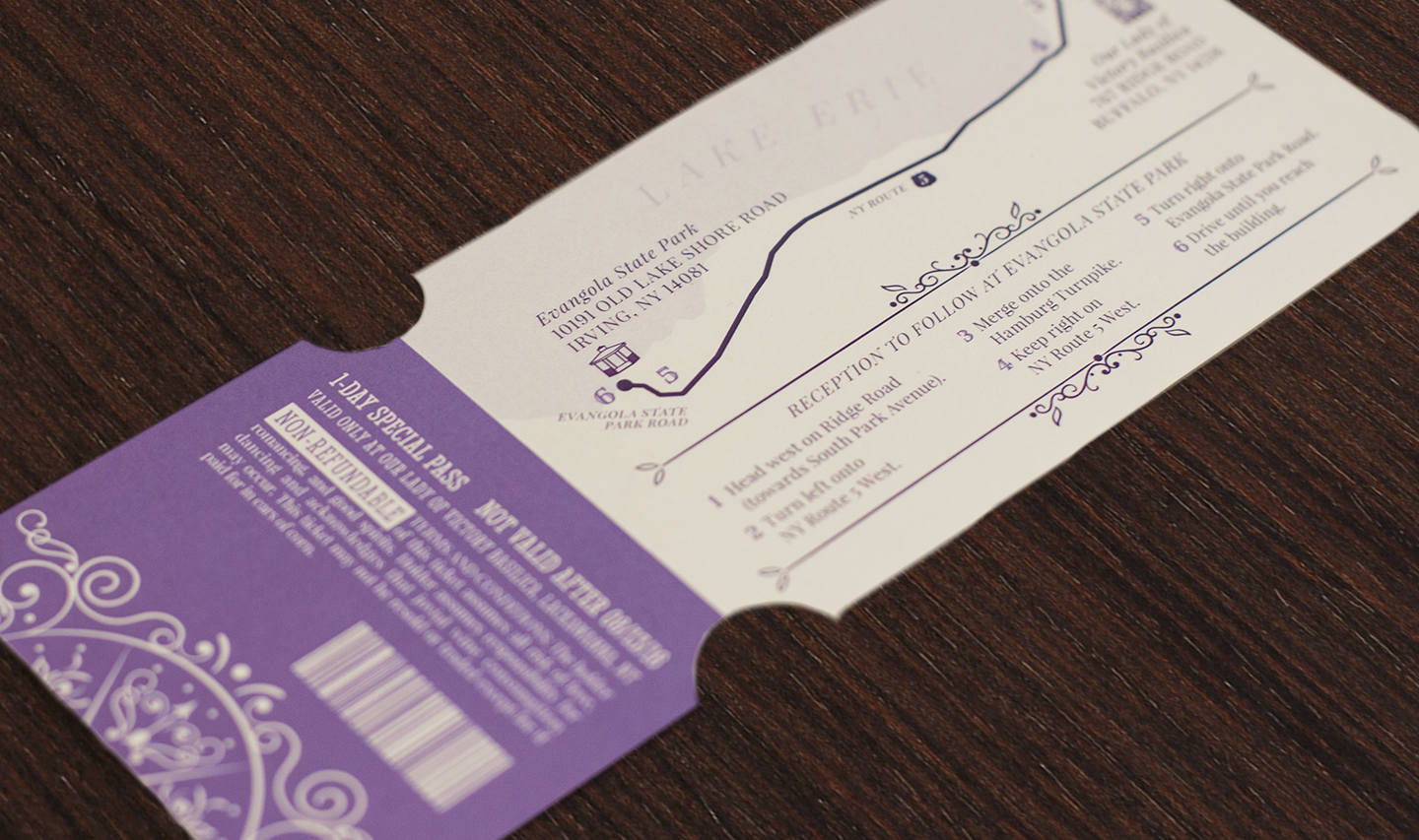Vintage carnival themed ticket invitation with perforated reply card