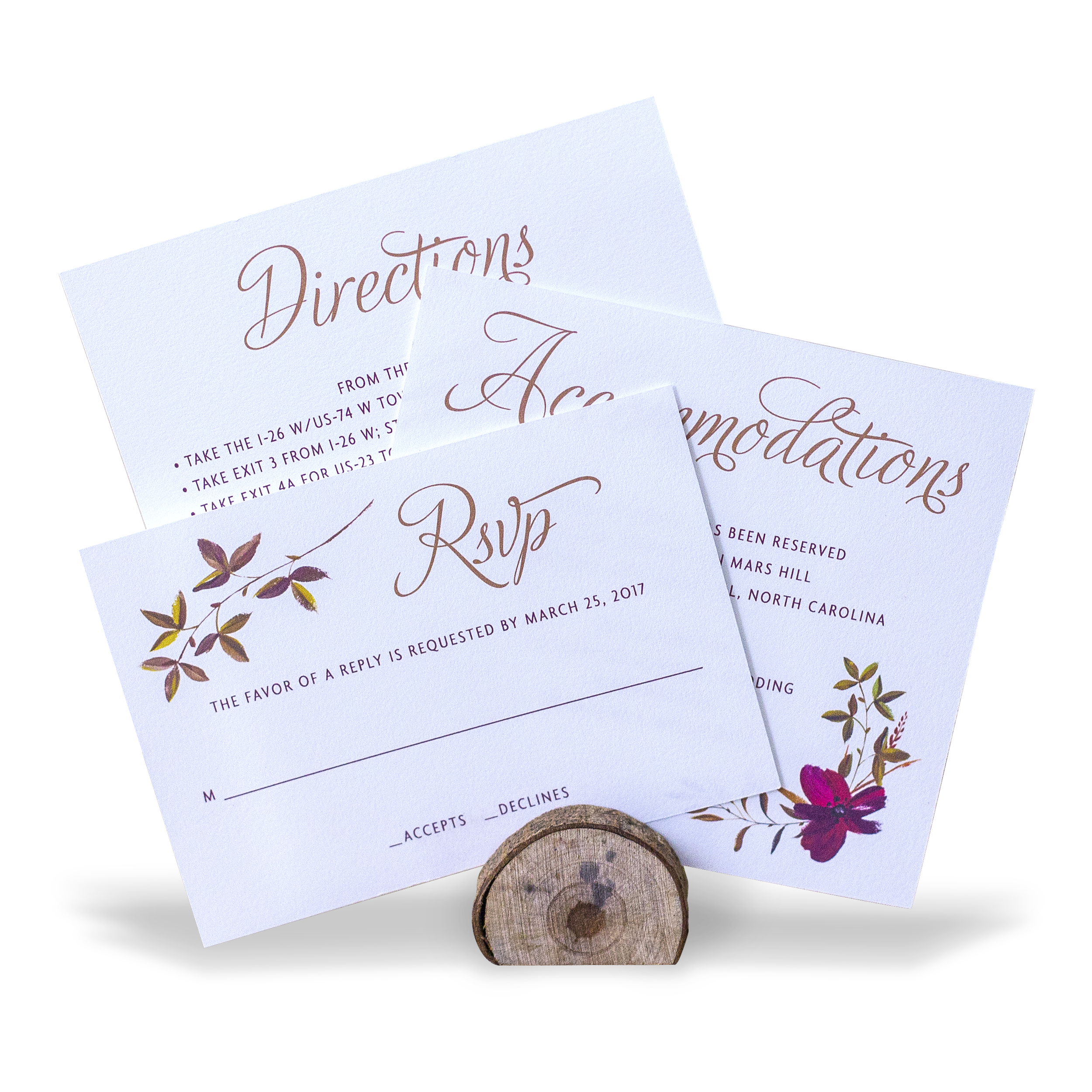 Staggered wedding suite insert cards