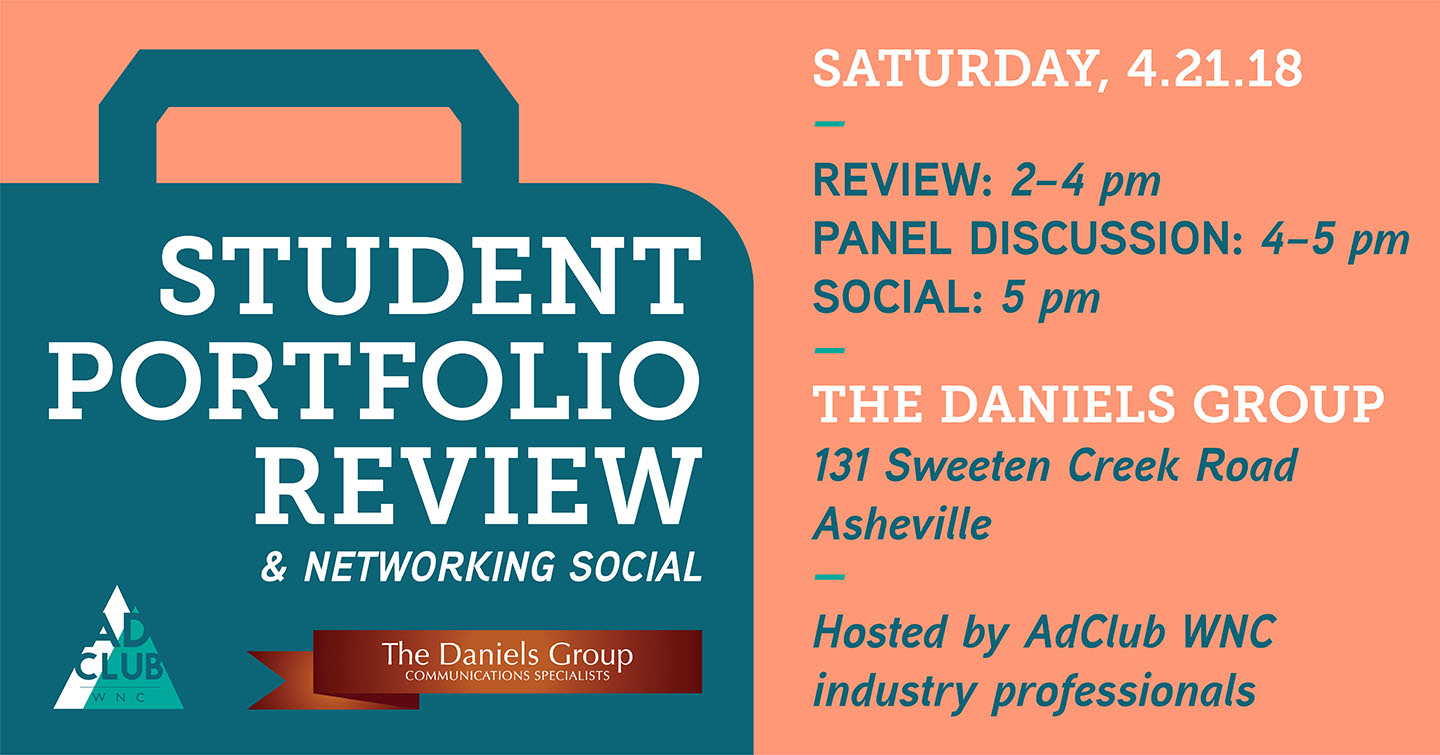 Banner for the annual student portfolio review hosted by AdClub WNC professionals