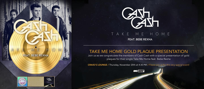 "Gold plaque design and evite design for Cash Cash's ""Take Me Home"""