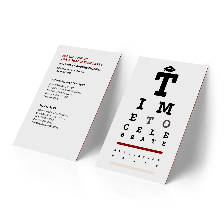 Optometry-themed graduation party invitation
