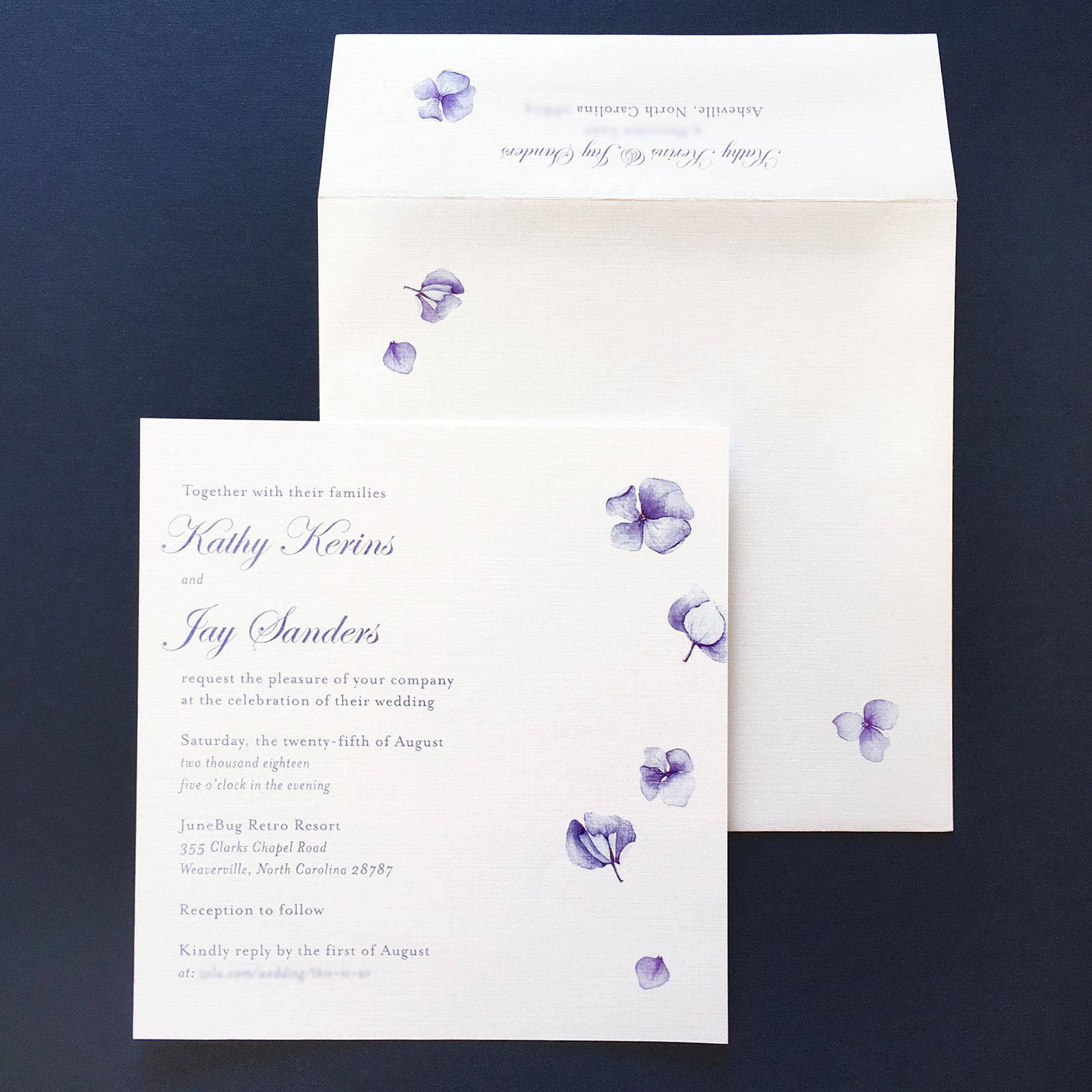 Simple delicate hydrangea invitation