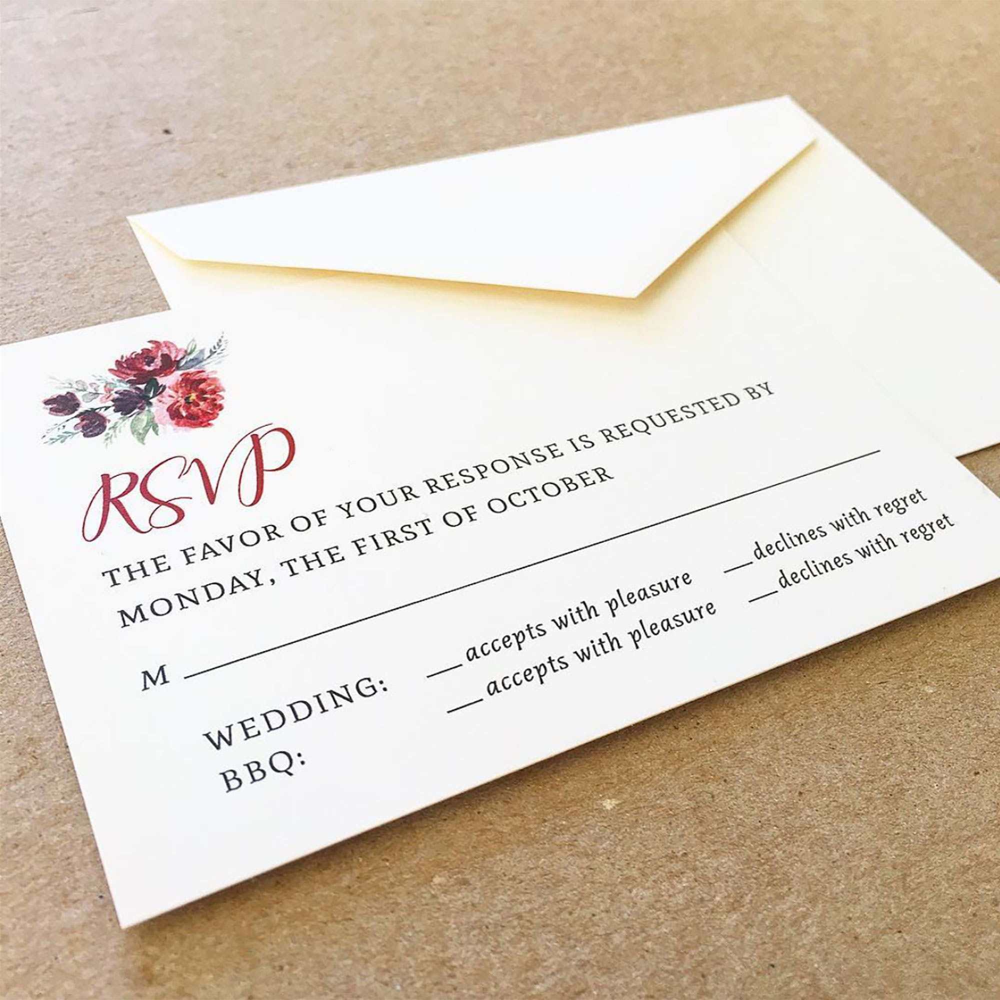 Mountain floral RSVP card