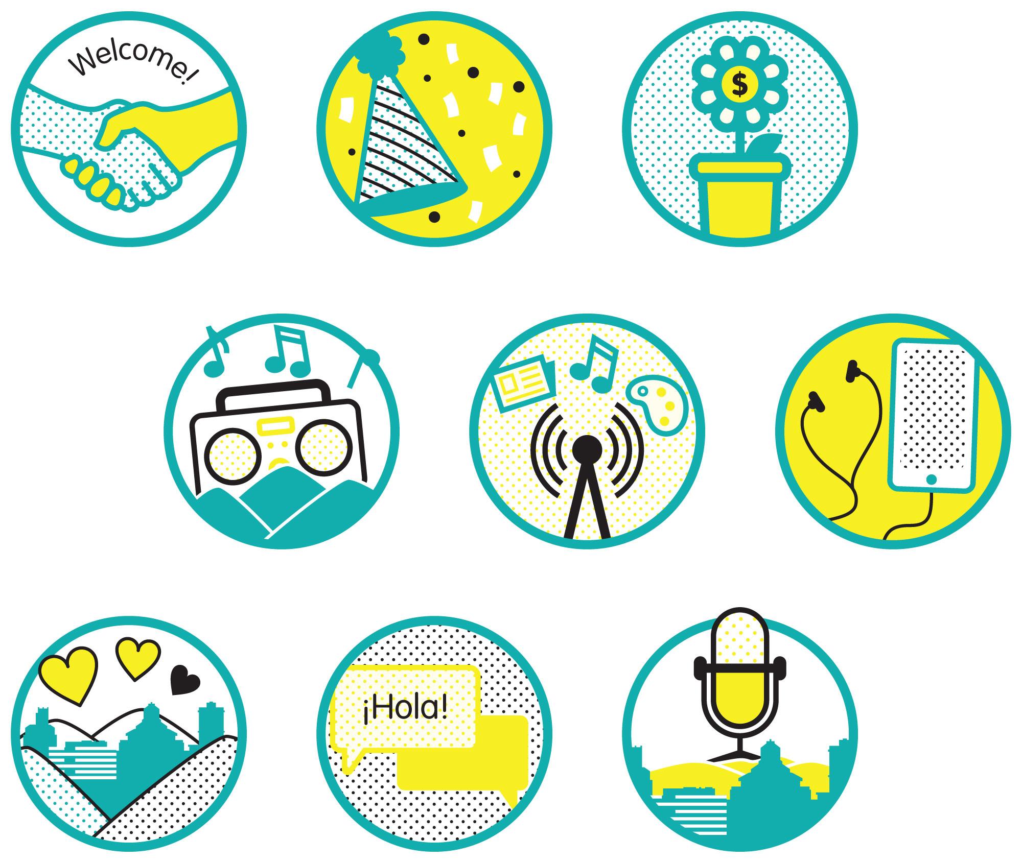 Custom icon designs for 2019 Annual Report