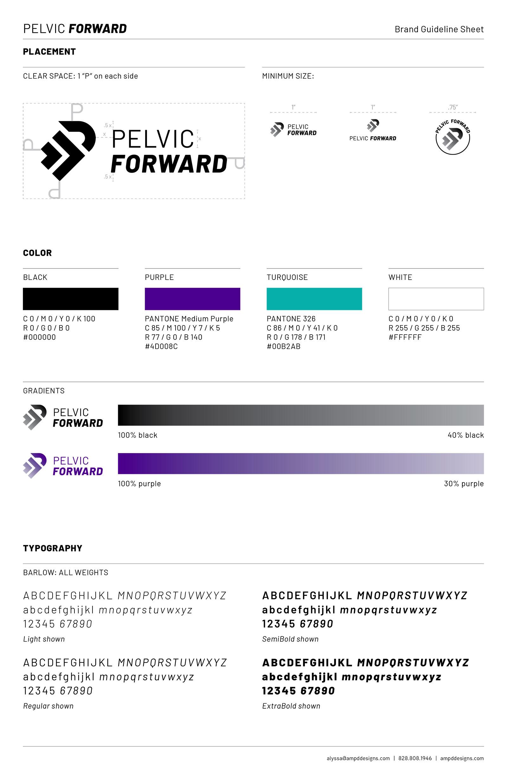 Pelvic Forward's brand guideline sheet