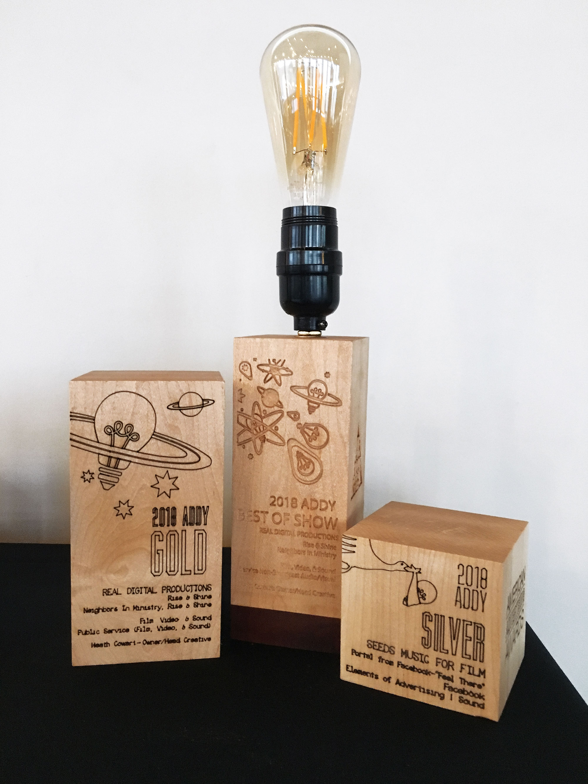 2019 Gala Awards designs, laser etched into wooden blocks