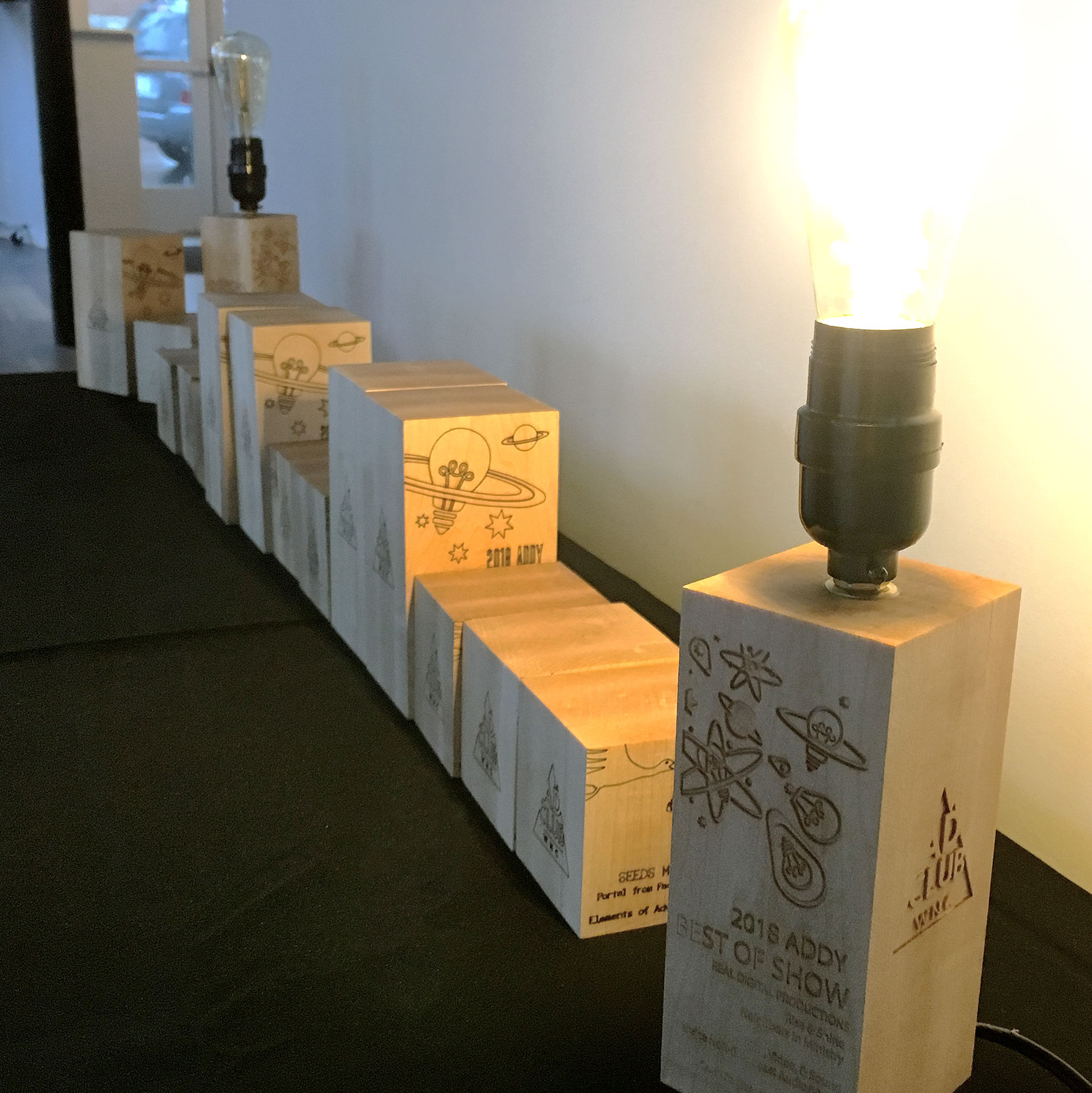2019 Gala Best in Show Award, laser etched into wooden block with working lightbulb plugged in!