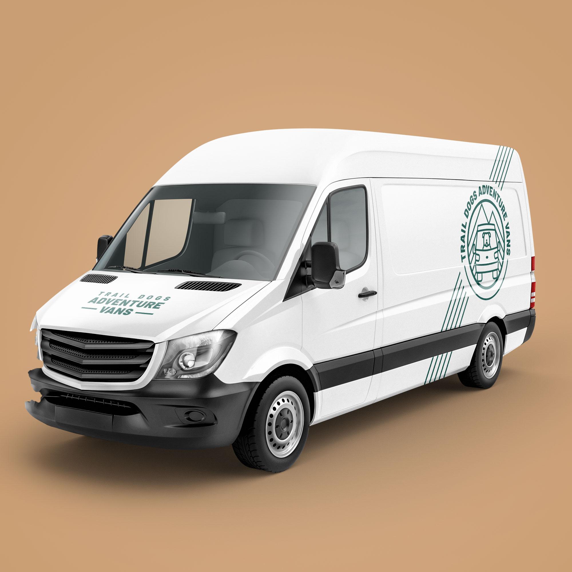 custom van wrap design, camper van company logo, asheville van wraps