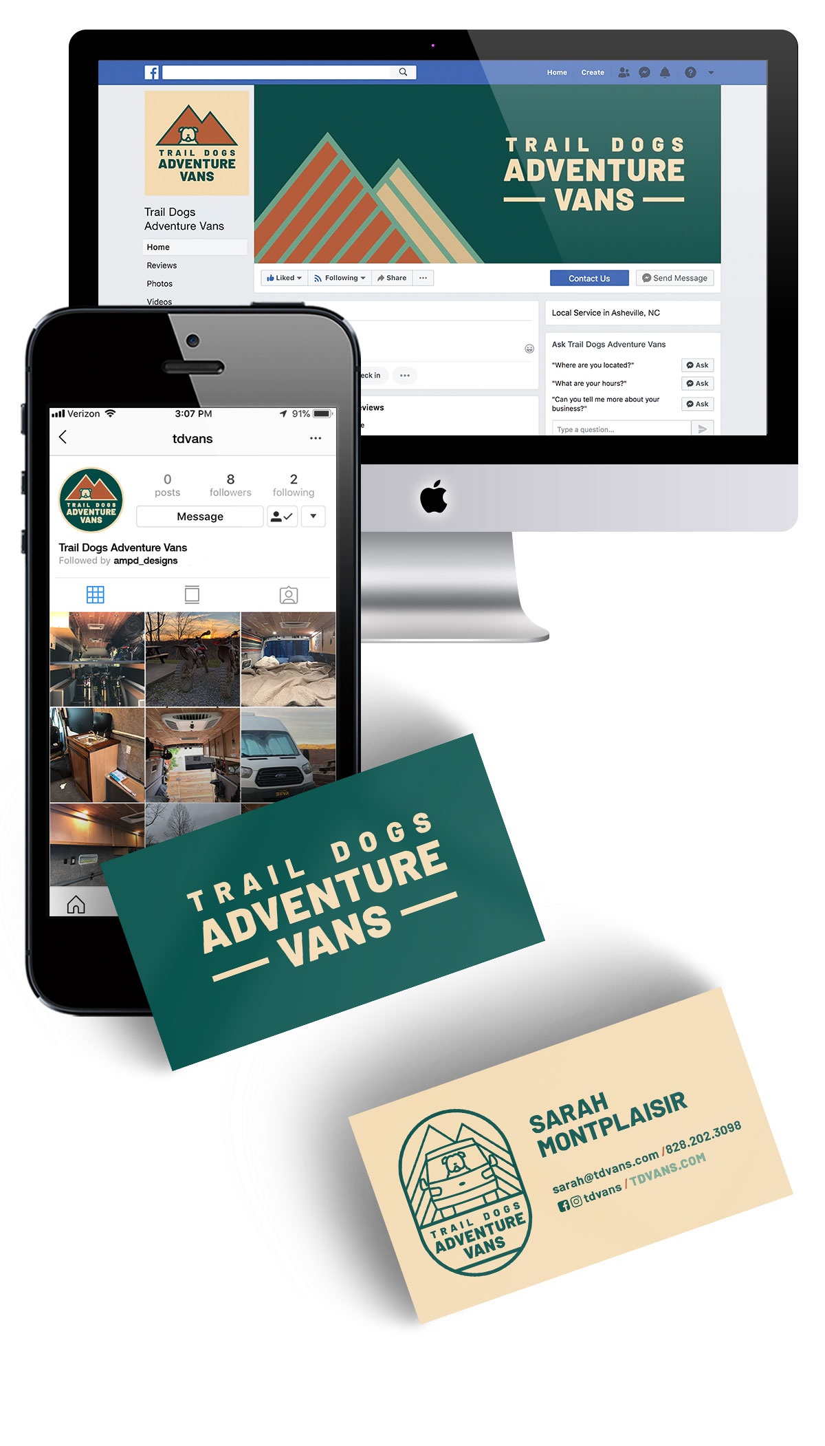 When branding looks cohesive across all of the pieces you put out, it creates recognizability and builds the professionalism of your brand.    (Trail Dogs Adventure Vans)