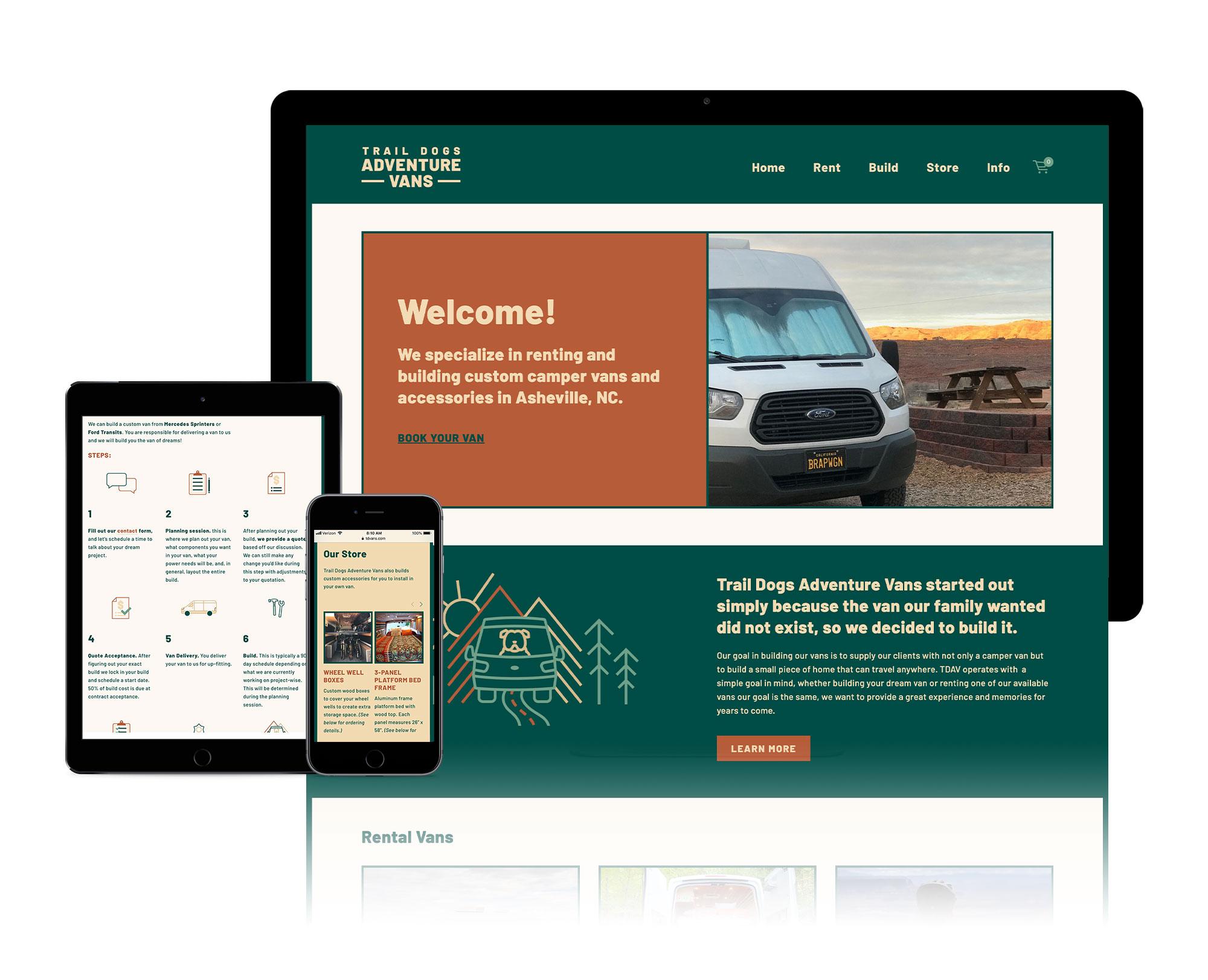 website design for asheville camper van company, custom squarespace web designer asheville