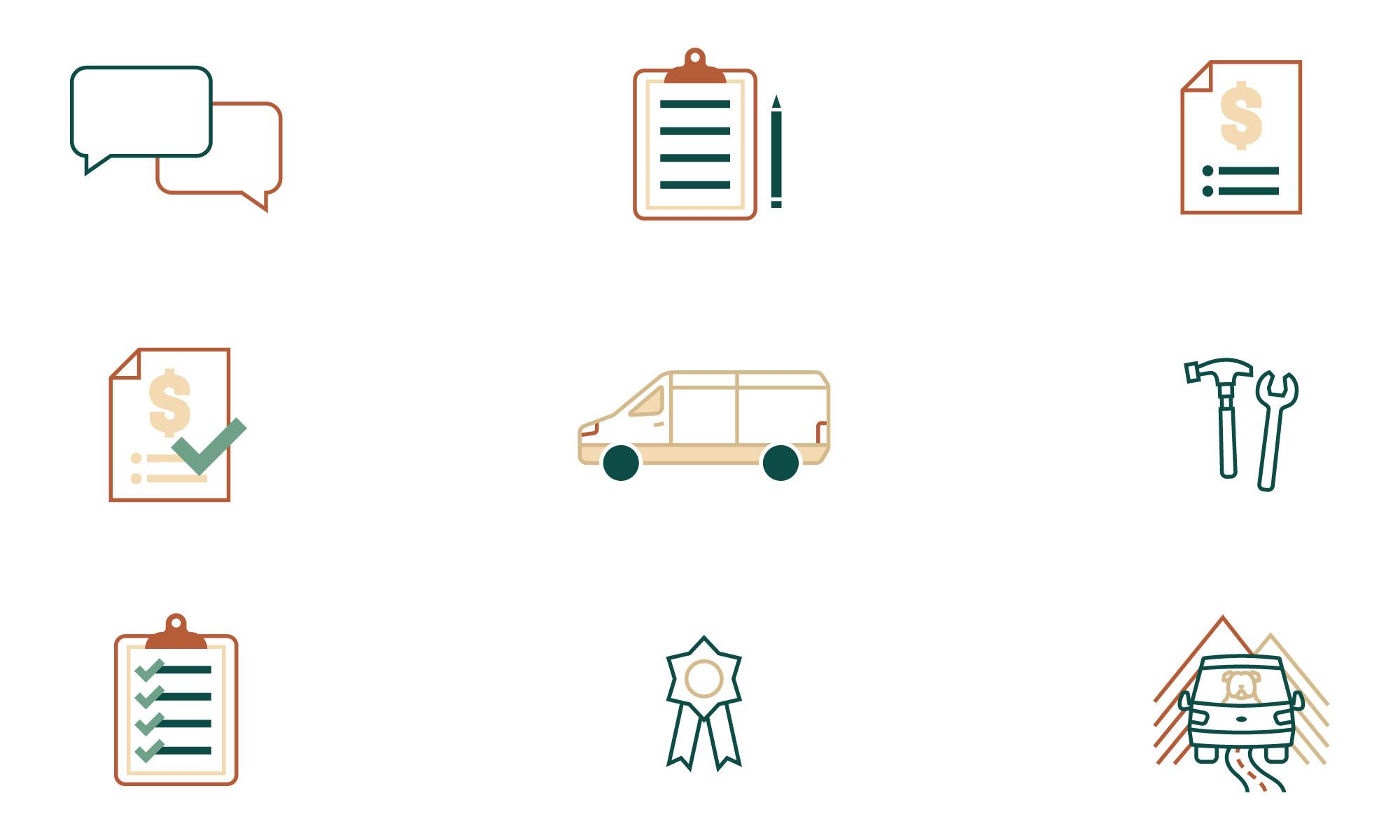 custom icon design, asheville illustrator, process icons, asheville marketing