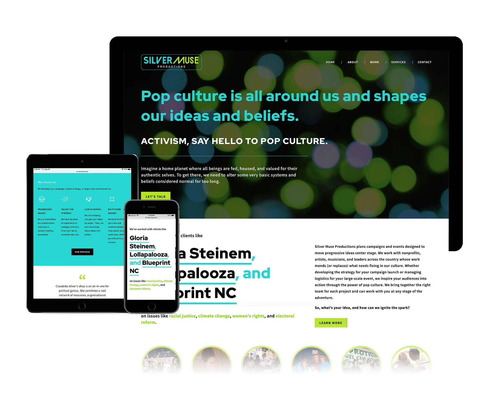 website design for asheville-based event production and campaign planning company, pop culture events for causes