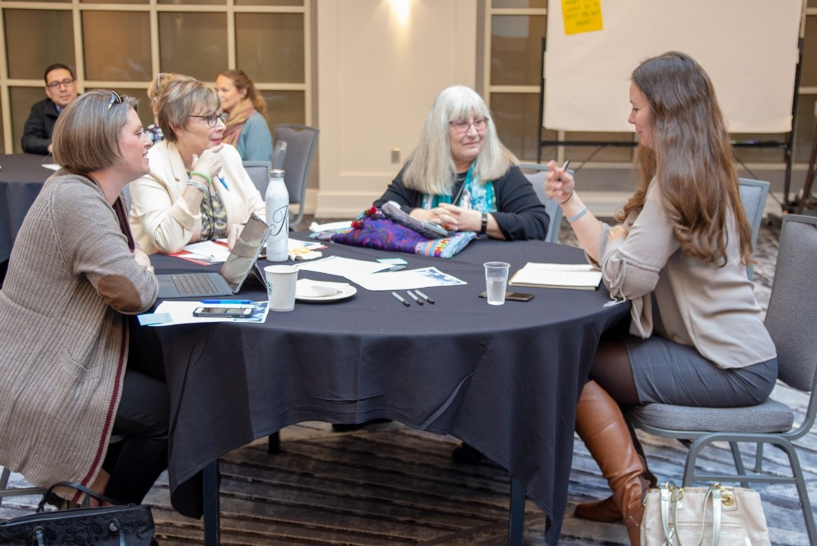 """Members working together during a breakout session, part of the """"Fostering High Performing Learning Organizations: Part II Workshop."""""""
