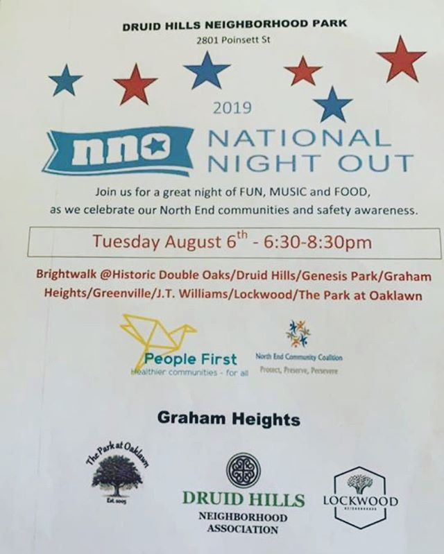 National Night Out for #northendclt neighborhoods! Starts 6:30 p.m. at the Druid Hills Neighborhood Park - look for the tent! #nno2019  #wearepeoplefirst #peoplefirstclt #druidhills #druidhillsnc #druidhillsclt #northend #northendcommunitycoalition