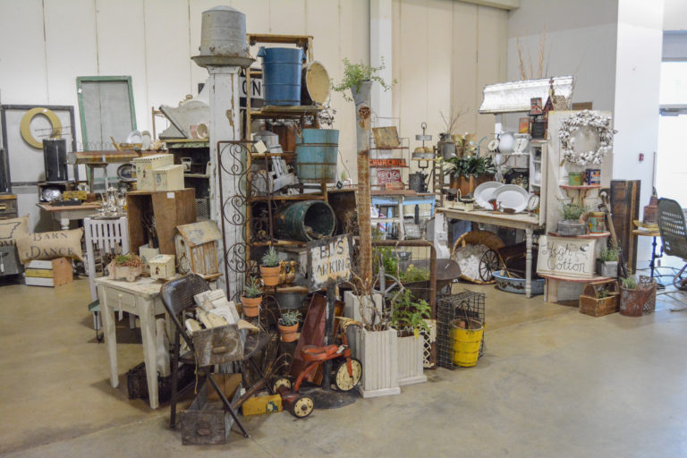 Booth full of antique and vintage finds at the Southern Junkers Vintage Market