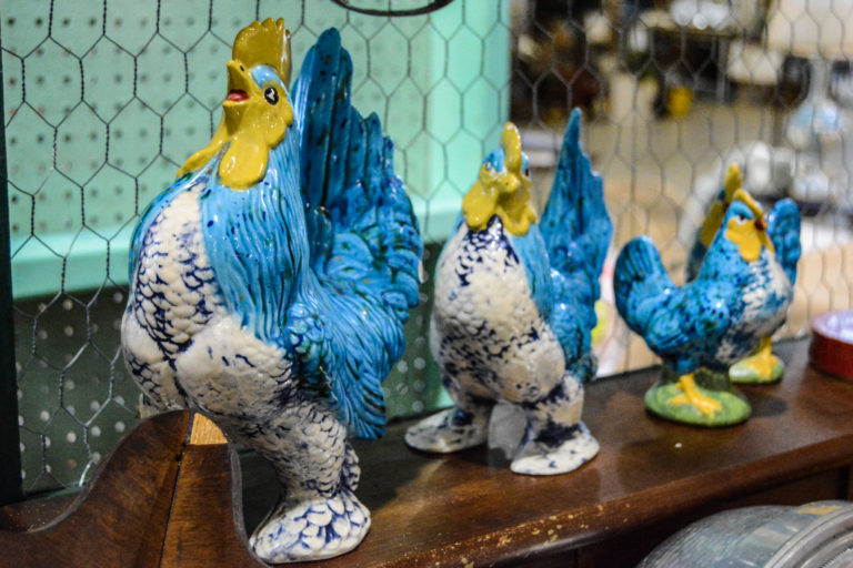 Antique Roosters at the Southern Junkers Vintage Market