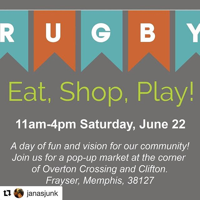 Come out and enjoy the fun!!! This Saturday! With  @janasjunk ・・・ BIG news! Rugby neighbors will host a one-day pop-up market & family fest Saturday, 6/22, 11a-4p. Join us in reimagining the potential for a walkable, shoppable gathering place in our neighborhood. Meet & support local artisans, community reps, food vendors, and learn a little about the past and FUTURE of our community! FREE admission. 901-240-4668. Rugbyneighborhood@gmail.com #frayserlove #901artists #shoplocal #my38127
