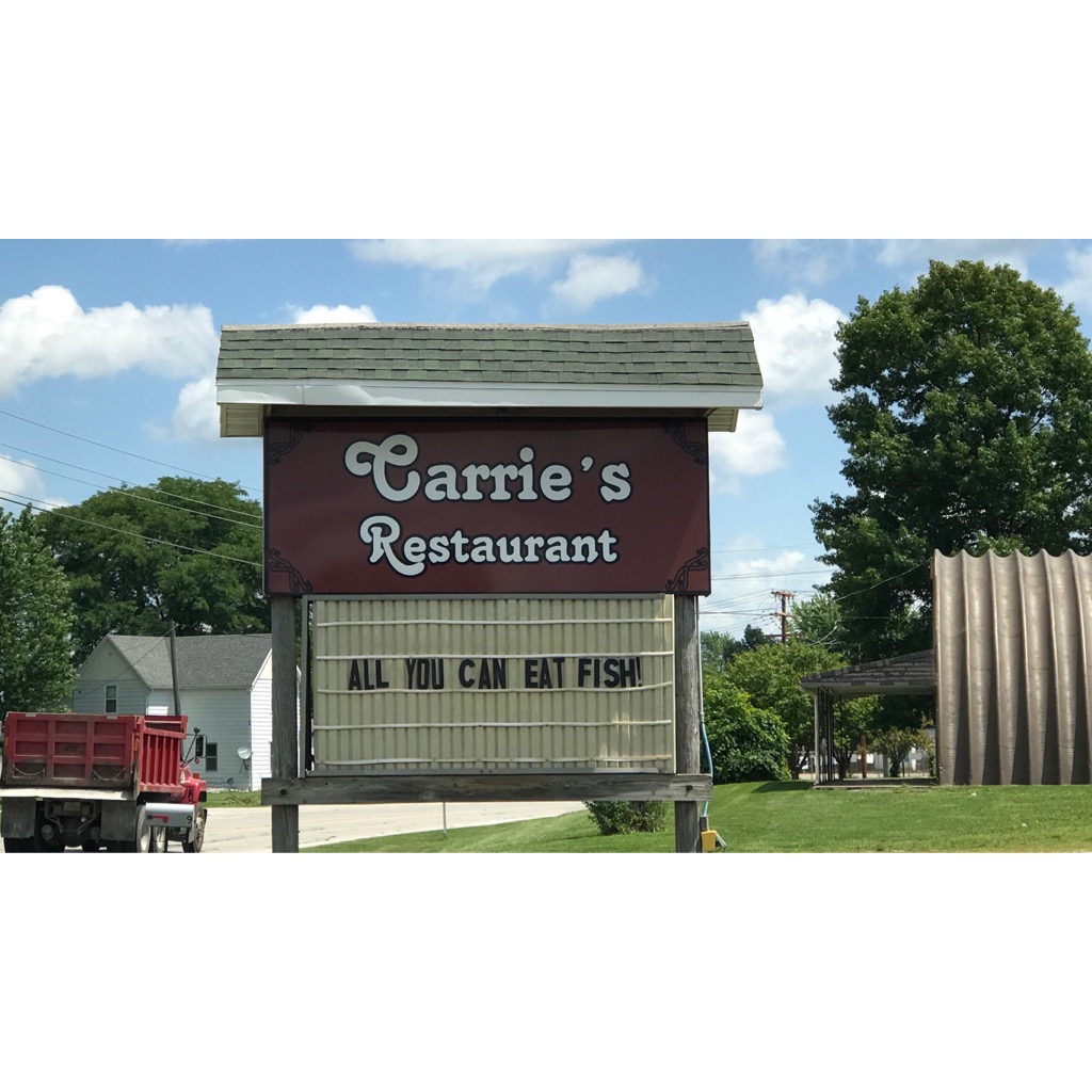 Carrie's is a casual family restaurant popular for their fish tenderloins and breakfast bar.   Hours: Monday, Tuesday, Saturday 6:00 AM - 2:00 PM, Wednesday, Thursday, Friday 7:00 AM - 8:00 PM, Sunday 8:00 AM - 2:00 PM  Location:  619 W Huntington St, Montpelier, Indiana 47359  Phone: (765) 303-5044