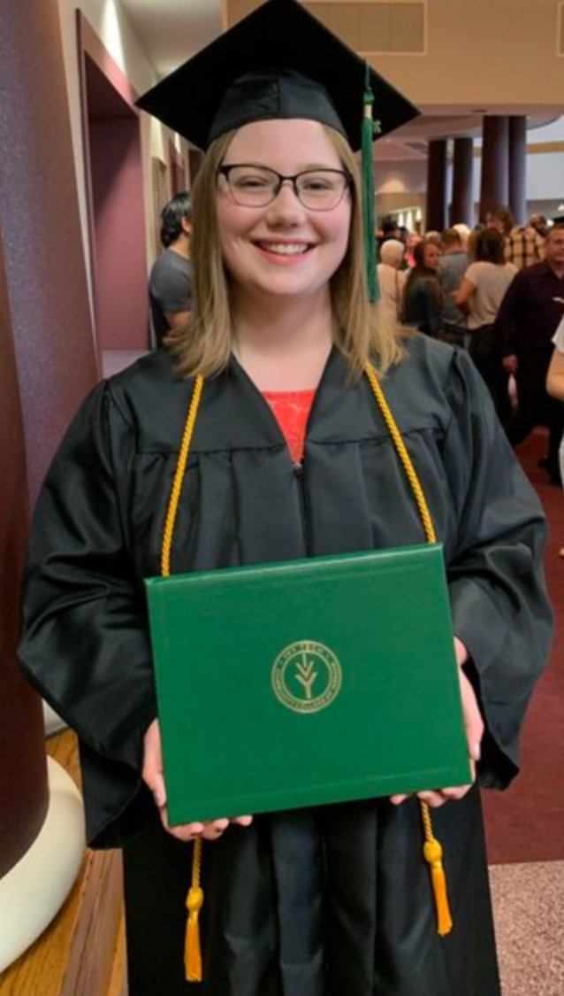 Graduate Breanne Morgan displays her Associate in General Studies degree.  Photo submitted by Breanne Morgan