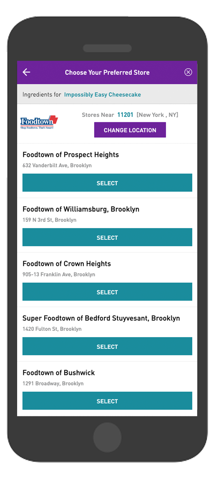 Chicory's New UX: Foodtown Location Selection Screen