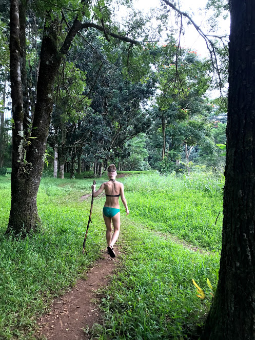 """""""During the hardest seasons, I'd envision myself strong and trekking through forest, and when we went to Hawaii in January, I got to do that, and Stephen snapped this photo. So it's my reminder of how far my body has come… it's my warrior photo."""" (Image Courtesy of Christina Hutson)"""