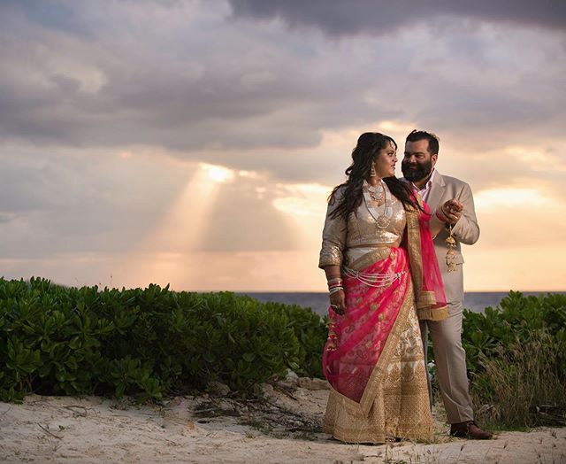 Sharee + Angad #brideandgroom #newlyweds #destinationwedding #jamaica #weddinginspiration #idianwedding #sunset #beachview #weddingphotography
