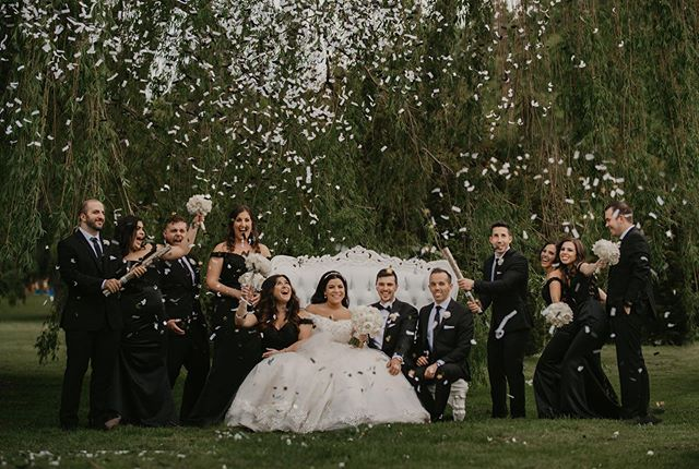 🥰 @modishloungerentals some confetti and a fun group.  Although this wedding was on one of the hottest days we had this summer and the rain was lingering over our heads all day, we managed to pray just hard enough to keep the rain away and spray some confetti in the sky!