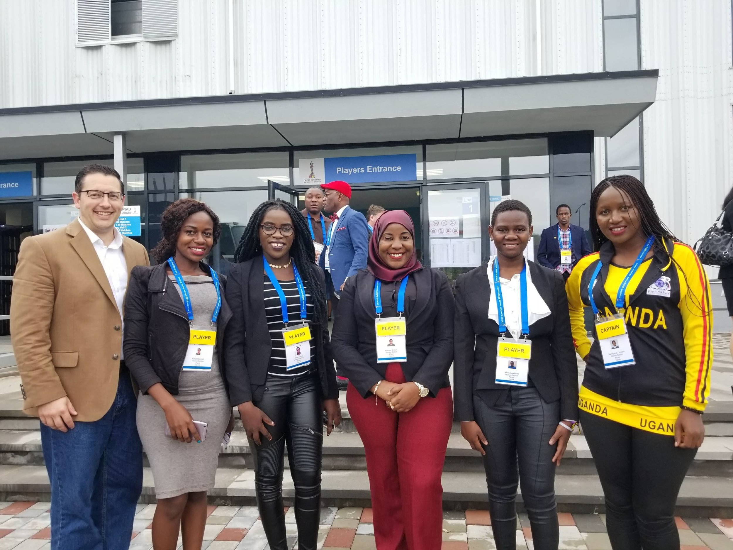 Elliott with Phiona Mutesi (third from the left) and the Ugandan Women's World Chess Olympiad Team 2018