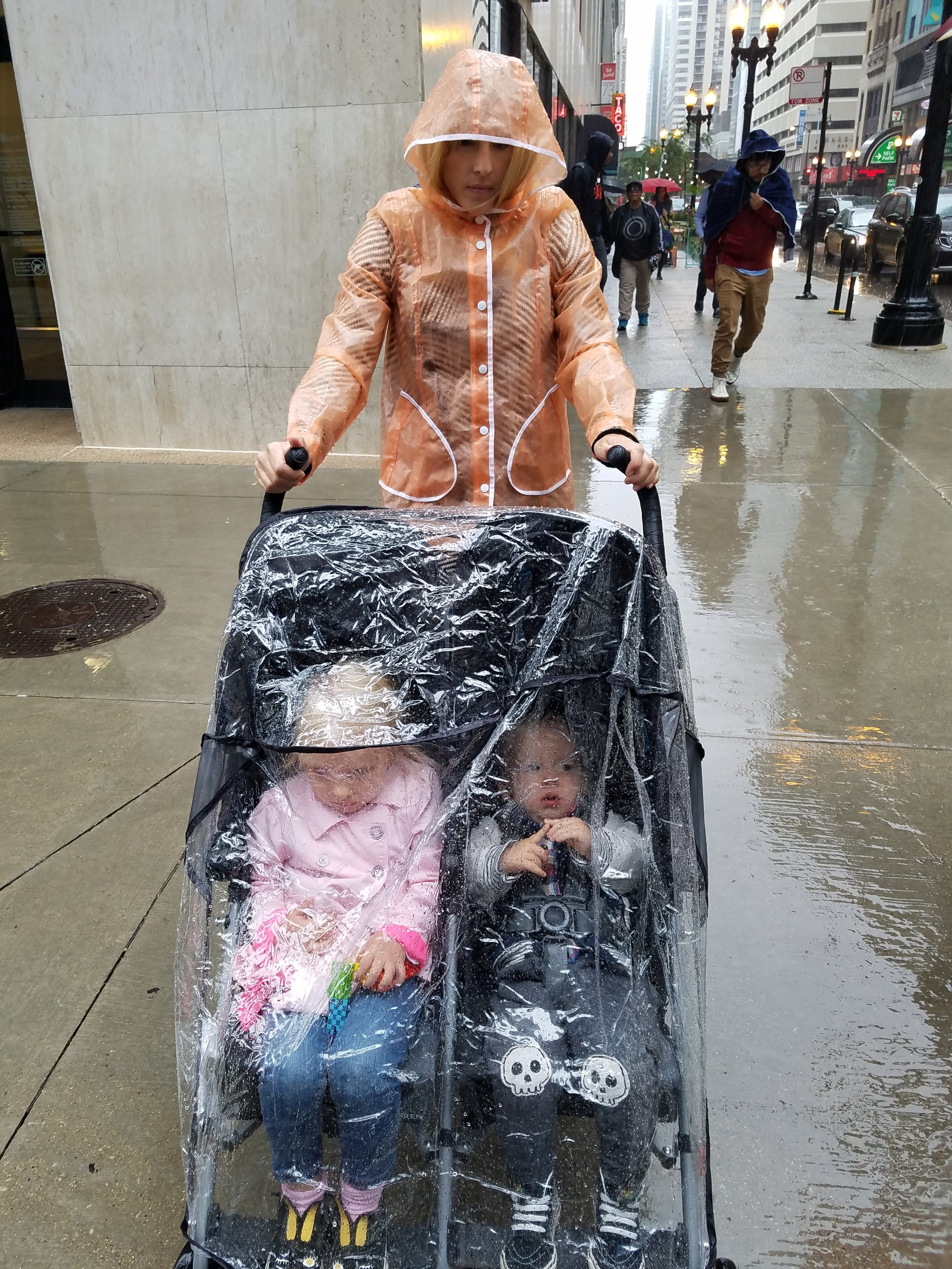 How we managed to stay dry, hands-free when it rained!