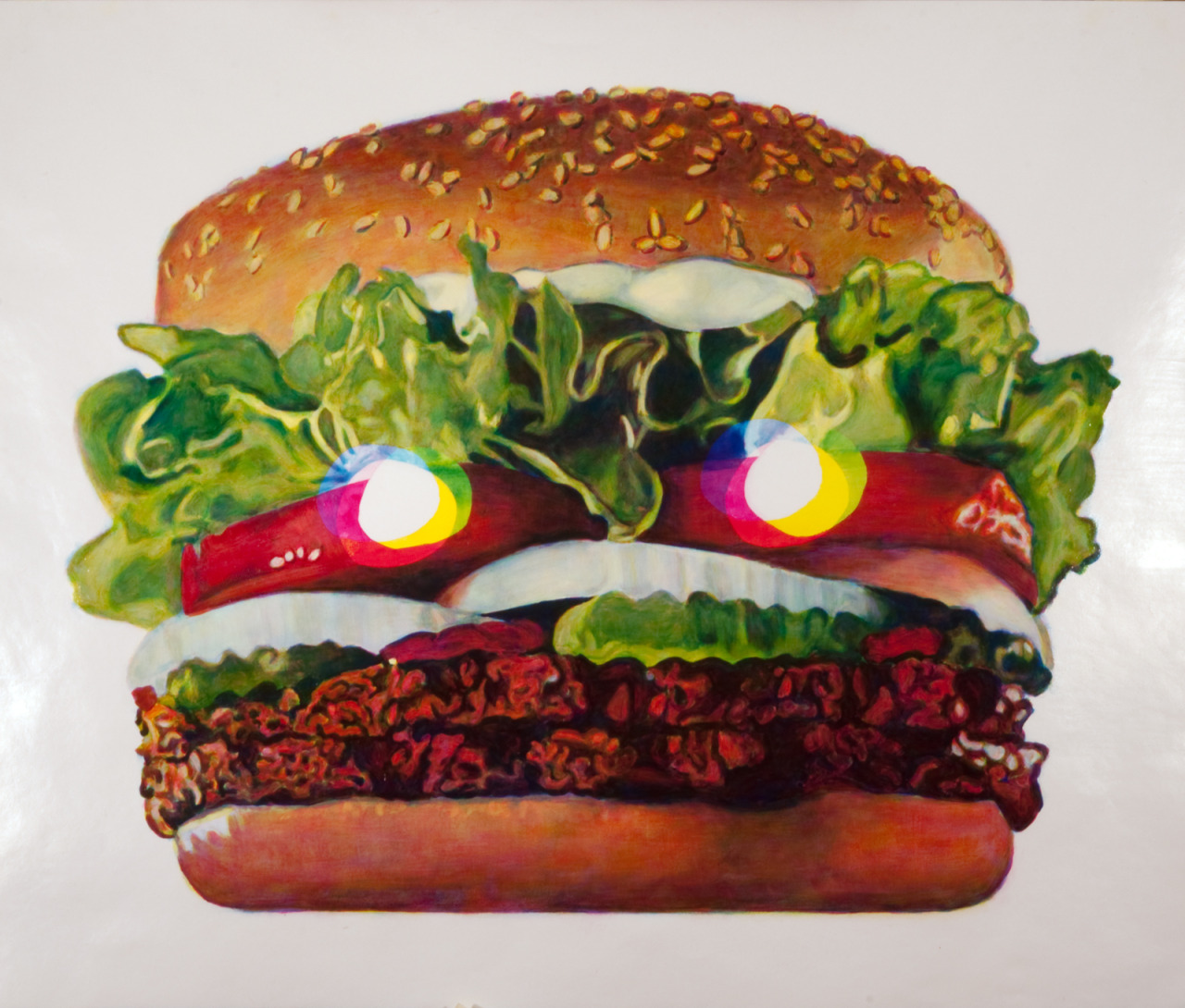 "Burger King , 2009, oil on paper, 46"" x 54"""